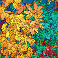 Abstract illustration of autumn leaves.