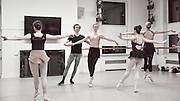 "Robert La Fosse (répétiteur) rehearses the dancers from the Columbia Ballet Collaborative in Barnard College's Streng Studio, for the Spring 2016 performance of George Balanchine's ""Valse Fantasie"" to be held at the Miller Theatre Columbia University School of the Arts."