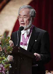 """Nobelpreisverleihung 2016 in der Konzerthalle in Stockholm / 101216 ***Nobel laureate Yoshinori Ohsumi gives a speech during a banquet following an award ceremony in Stockholm on Dec. 10, 2016. Ohsumi was awarded the Nobel prize in physiology or medicine for elucidating """"autophagy,"""" an intracellular process that degrades and recycles proteins."""