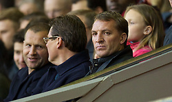 ANFIELD, ENGLAND - Friday, May 2, 2014: Liverpool's manager Brendan Rodgers watches his Under-21 team in action against Manchester United during the Under 21 FA Premier League Semi-Final match at Anfield. (Pic by David Rawcliffe/Propaganda)