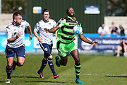 Forest Green Rovers Shamir Mullings(18) during the Vanarama National League match between Guiseley  and Forest Green Rovers at Nethermoor Park, Guiseley, United Kingdom on 8 April 2017. Photo by Shane Healey.