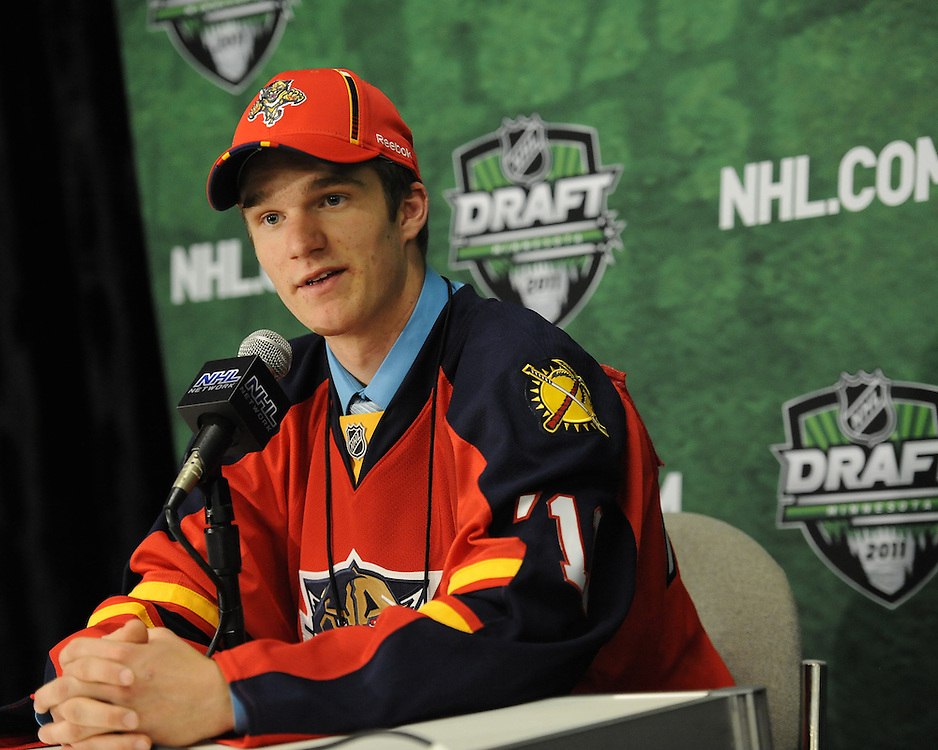 Jonathan Huberdeau of the Saint John Sea Dogs was selected third overall by the Florida Panthers  in the 2011 NHL Entry Draft in St. Paul, MN on Friday June 24. Photo by Aaron Bell/CHL Images