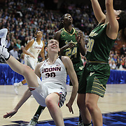 Breanna Stewart,  UConn, falls to the ground after shooting two and being fouled by Laura Ferreira, USF, during the UConn Huskies Vs USF  2016 American Athletic Conference Championships Final. Mohegan Sun Arena, Uncasville, Connecticut, USA. 7th March 2016. Photo Tim Clayton