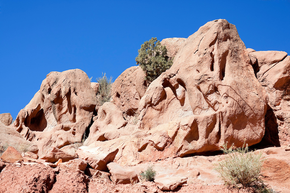 Rocks against clear blue sky in the Ounila Valley, Morocco.