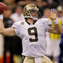 2009 October 18: New Orleans Saints quarterback Drew Brees (9) looks to pass against the New York Giants during a 48-27 win by the New Orleans Saints over the New York Giants at the Louisiana Superdome in New Orleans, Louisiana.