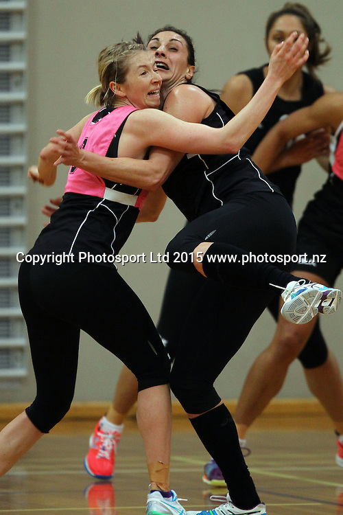 Millie Lees clashes with Joline Henry, Silver Ferns, New Zealand netball team training session, AUT Sport and Fitness centre, Auckland. 1 July 2015. Copyright Photo: William Booth / www.photosport.nz