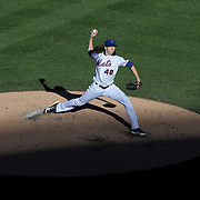 Pitcher Jacob deGrom, New York Mets, pitching during the New York Mets Vs Washington Nationals MLB regular season baseball game at Citi Field, Queens, New York. USA. 4th October 2015. Photo Tim Clayton
