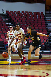 NORMAL, IL - October 30: Juliunn Redmond defended by Kate Ruzevich during a college women's basketball game between the ISU Redbirds and the Lions on October 30 2019 at Redbird Arena in Normal, IL. (Photo by Alan Look)