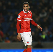 Charlton Athletic defender Tareiq Holmes-Dennis during the Sky Bet Championship match between Brighton and Hove Albion and Charlton Athletic at the American Express Community Stadium, Brighton and Hove, England on 5 December 2015. Photo by Bennett Dean.