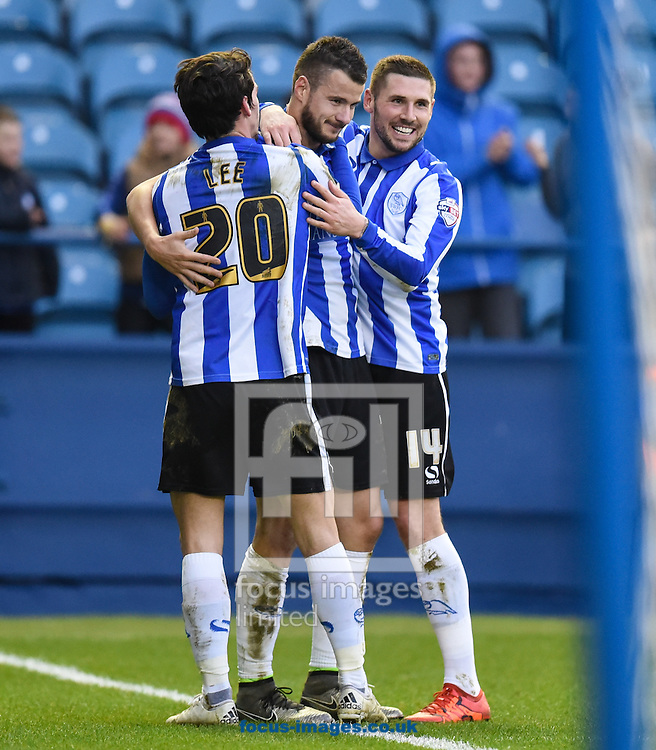 Daniel Pudil (C) of Sheffield Wednesday celebrates scoring to make it 3-1 during the Sky Bet Championship match at Hillsborough, Sheffield<br /> Picture by Richard Land/Focus Images Ltd +44 7713 507003<br /> 20/12/2015