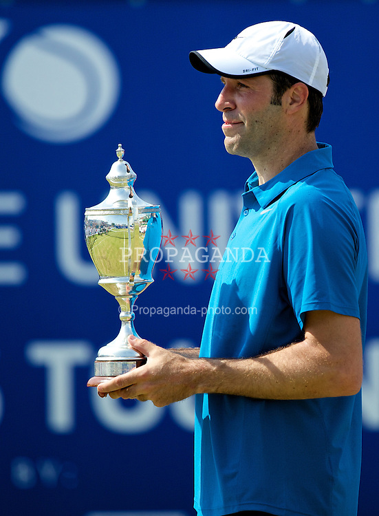 LIVERPOOL, ENGLAND - Sunday, June 22, 2014: Greg Rusedski (GRB) during Day Four of the Liverpool Hope University International Tennis Tournament at Liverpool Cricket Club. (Pic by David Rawcliffe/Propaganda)