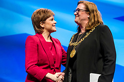 Pictured: Nicola Sturgeon, MSP, First Minister and Eve Bolander, Glasgow Lord Provost<br /> The members of the SNP gathered in the Scottish Events Centre in Glasgow for their annual conference.<br /> <br /> Ger Harley | EEm 8 October 2017