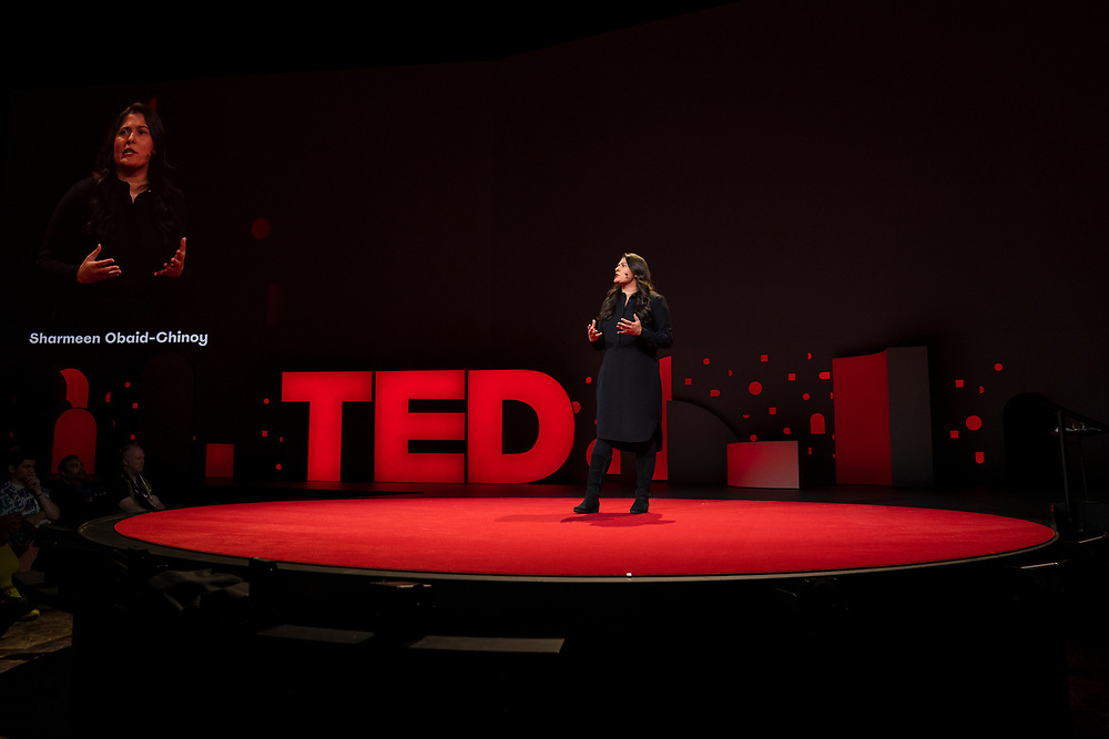 Sharmeen Obaid-Chinoy speaks at TED2019: Bigger Than Us. April 15 - 19, 2019, Vancouver, BC, Canada. Photo: Bret Hartman / TED