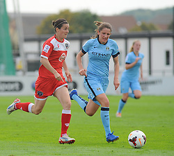 Bristol Academy Womens' Natalia Pablos Sanchon battles for ball possession. - Photo mandatory by-line: Nizaam Jones- Mobile: 07583 387221 - 28/09/2014 - SPORT - Women's Football - Bristol - SGS Wise Campus - BAWFC v Man City Ladies - sport