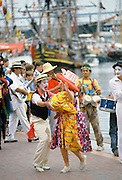 Mime artists and performers in costumes for celebrations in Sydney for Australia's Bicentenary,1988