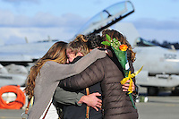Pilots and aircrew from Tactical Electronic Warfare Squadron 130 return home to Naval Air Station Whidbey Island Dec. 30, 2016, from a six month deployment and were reunited with their families just in time for the new year. Photo by Michael Watkins/Whidbey News-Times
