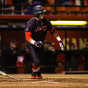 16 February 2018: San Diego State baseball opened up the season against UCSB at Tony Gwynn Stadium. San Diego State outfielder Chad Bible (23) hits a single to lead off the bottom of the second inning against UCSB. The Aztecs beat the Gauchos 9-1. <br /> More game action at sdsuaztecphotos.com