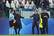 Manchester United Manager Jose Mourinho shakes the hand of Juventus Manager Massimiliano Allegri after the final whistle during the Champions League Group H match between Juventus FC and Manchester United at the Allianz Stadium, Turin, Italy on 7 November 2018.
