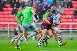 Ian Madigan of Bristol Bears is tackled by Joe Marchant of Harlequins - Mandatory by-line: Ryan Hiscott/JMP - 22/09/2018 - RUGBY - Ashton Gate Stadium - Bristol, England - Bristol Bears v Harlequins - Gallagher Premiership Rugby