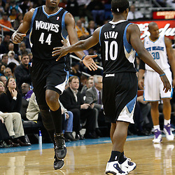February 7, 2011; New Orleans, LA, USA; Minnesota Timberwolves center Anthony Tolliver (44) and point guard Jonny Flynn (10) celebrate during the second quarter of a game against the New Orleans Hornets at the New Orleans Arena.   Mandatory Credit: Derick E. Hingle