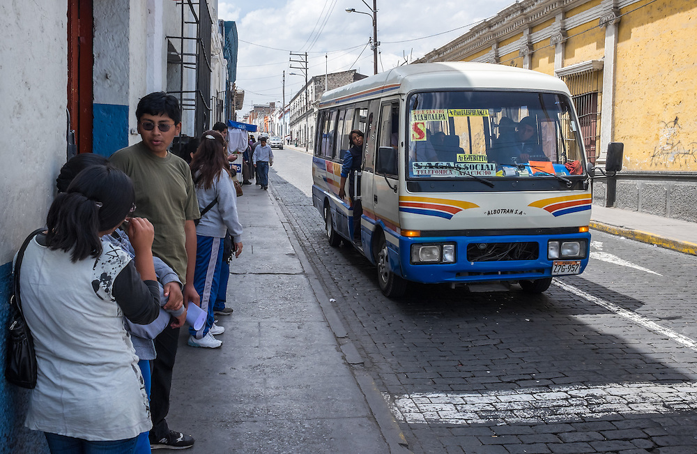 AREQUIPA, PERU - CIRCA APRIL 2014: Typical bus stop in the streets of Arequipa. Arequipa is the Second city of Perú by population with 861,145 inhabitants and is the second most industrialized and commercial city of Peru.