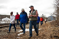 Walking the proposed extention of the Wow Trail along Paugus Bay from Lakeport.  (Karen Bobotas/for the Laconia Daily Sun)