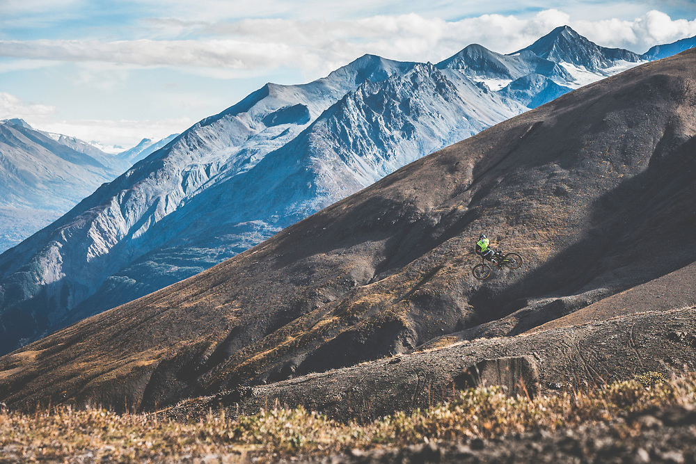 Tyler McCaul catches air in the Tatshenshini-Alsek Provincial Park in British Columbia, Canada on September 4, 2016.