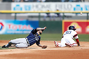 CHICAGO, IL - APRIL 28: Alejandro De Aza #30 of the Chicago White Sox steals second base as the throw gets past Ryan Roberts #19 of the Tampa Bay Rays during the game at U.S. Cellular Field on April 28, 2013 in Chicago, Illinois. (Photo by Joe Robbins)