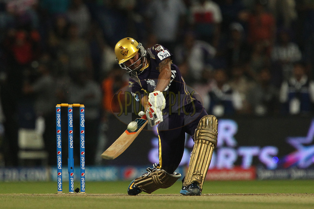 Manish Pandey of the Kolkata Knight Riders lofts the ball for a six during the SUPER over in match 19 of the Pepsi Indian Premier League 2014 Season between The Kolkata Knight Riders and the Rajasthan Royals held at the Sheikh Zayed Stadium, Abu Dhabi, United Arab Emirates on the 29th April 2014<br /> <br /> Photo by Ron Gaunt / IPL / SPORTZPICS