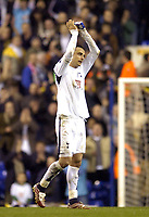 Photo: Olly Greenwood.<br />Tottenham Hotspur v FC Braga. UEFA Cup. 14/03/2007. Spurs Dimitar Berbatov gets the applause from the crowd after a great game