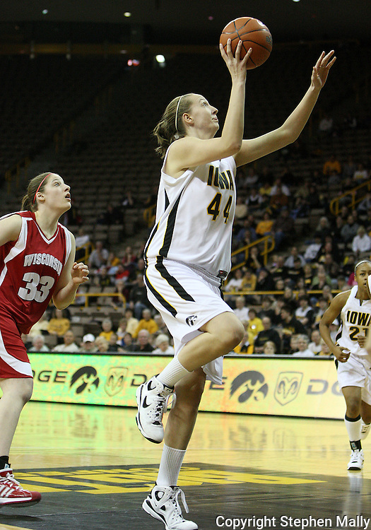 19 February 2009: Iowa center Megan Skouby (44) puts up a shot during the first half of an NCAA women's college basketball game Thursday, February 19, 2009, at Carver-Hawkeye Arena in Iowa City, Iowa. Iowa defeated Wisconsin 72-65.