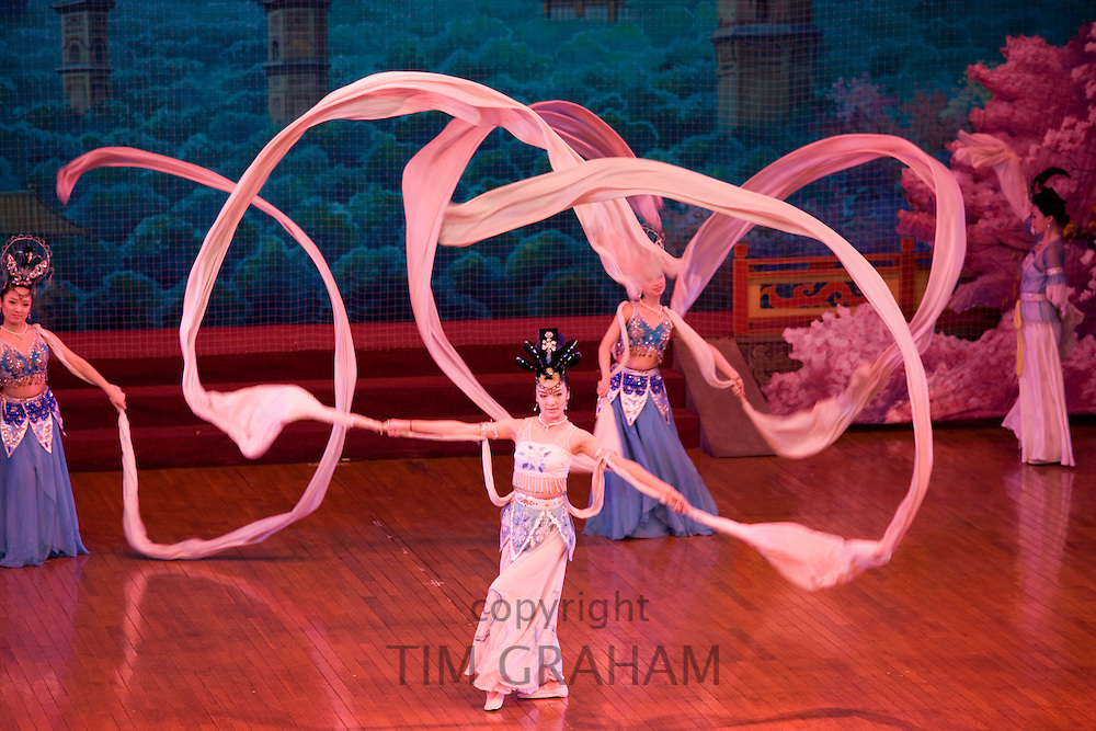 Dancers with silk scarves in the Tang Dance Show, Shaanxi Grand Opera House, Xian, China