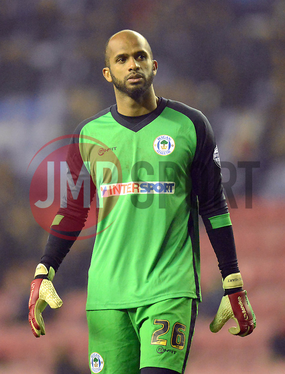 Wigan Athletic's Ali Al-Habsi looks on - Photo mandatory by-line: Richard Martin-Roberts/JMP - Mobile: 07966 386802 - 17/03/2015 - SPORT - Football - Wigan - DW Stadium - Wigan Athletic  v Watford - Sky Bet Championship