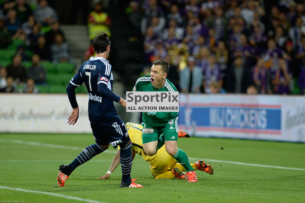Gui Finkler of Melbourne Victory, Diego Castro of Perth Glory FC, Danny Vukovic (GK) of Melbourne Victory - Westfield FFA Cup Final, 7th November 2015, Melbourne Victory FC v Perth Glory FC 2:0 win to Victory- © Mark Avellino | SportPix.org.uk