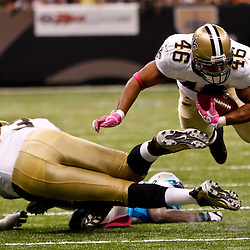 October 3, 2010; New Orleans, LA, USA; New Orleans Saints running back Ladell Betts (46) dives for extra yardage during the second half against the Carolina Panthers at the Louisiana Superdome. The Saints defeated the Panthers 16-14. Mandatory Credit: Derick E. Hingle