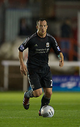 EXETER, ENGLAND - Wednesday, August 24, 2011: Liverpool's Charlie Adam in action against Exeter City during the Football League Cup 2nd Round match at St James Park. (Pic by David Rawcliffe/Propaganda)