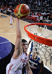 Ersan Ilyasova of Turkey during  the eight-final basketball match between National teams of Turkey and France at 2010 FIBA World Championships on September 5, 2010 at the Sinan Erdem Dome in Istanbul, Turkey. (Photo By Vid Ponikvar / Sportida.com)