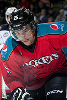KELOWNA, CANADA - MARCH 15: Colton Heffley #25 of the Kelowna Rockets skates against the Vancouver Giants on March 15, 2014 at Prospera Place in Kelowna, British Columbia, Canada.   (Photo by Marissa Baecker/Getty Images)  *** Local Caption *** Colton Heffley;