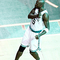 07 June 2012: Boston Celtics power forward Kevin Garnett (5) pumps up the fans during first half of Game 6 of the Eastern Conference Finals playoff series, Heat at Celtics at the TD Banknorth Garden, Boston, Massachusetts, USA.