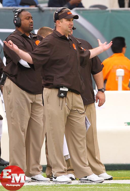 Dec 22, 2013; East Rutherford, NJ, USA; Cleveland Browns head coach Rob Chudzinski during the first half at MetLife Stadium.
