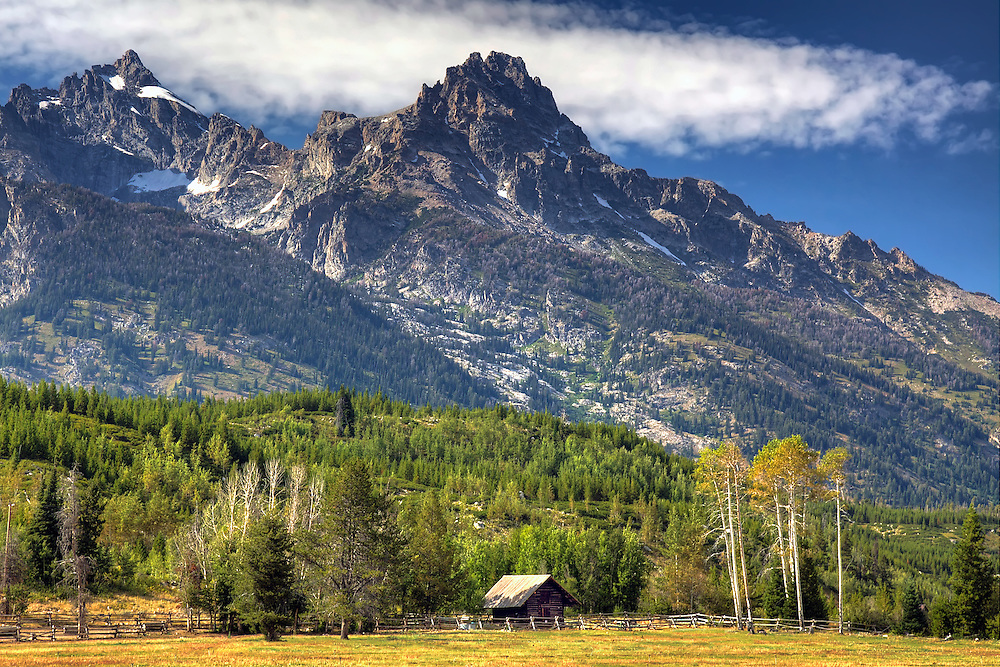 Meadow and mountains -- a classic scene from Grand Teton National Park, Wyoming.