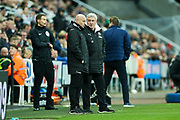 Newcastle United manager Steve Bruce in discussion with Newcastle United assistant manager Steve Agnew during the The FA Cup match between Newcastle United and Oxford United at St. James's Park, Newcastle, England on 25 January 2020.
