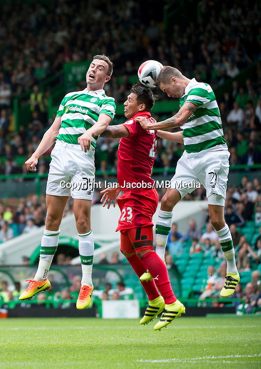 Football, International Champions Cup, Parkhead Stadium, Glasgow. Celtic v Leicester City. Leicester win 6-5 on penalties<br /> Pic shows: Eoghan O'Connell, Leo Ulloa and Mikael Lustig go up for the ball.