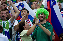 Slovenian fans dance during the EuroBasket 2009 Semi-final match between Slovenia and Serbia, on September 19, 2009, in Arena Spodek, Katowice, Poland. Serbia won after overtime 96:92.  (Photo by Vid Ponikvar / Sportida)