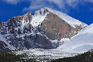 The famous east face of Longs Peak after a late May snow storm, Rocky Mountain National Park, Colorado.
