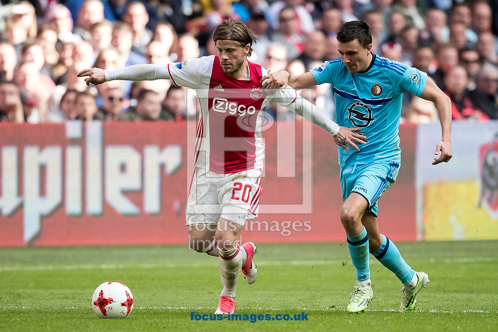 Lasse Schone of Ajax (L), Steven Berghuis of Feyenoord (R) during the Dutch Eredivisie match at Amsterdam Arena, Amsterdam<br /> Picture by Joep Joseph Leenen/Focus Images Ltd +316 5261929<br /> 02/04/2017<br /> ***NETHERLANDS OUT***