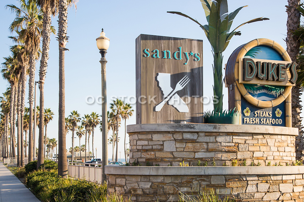 Duke's and Sandy's Restaurants at Downtown Huntington Beach Pier Plaza