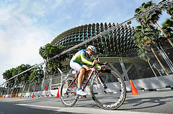 Slovenia's Nika Kozar competes in the junior women's time trial cycling competition of the Singapore 2010 Youth Olympic Games (YOG) at The Float@Marina Bay in Singapore, Aug 17, 2010. Photo: SPH-SYOGOC/Samuel He. Only for Slovenia.