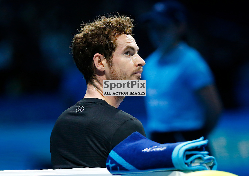 Andy Murray pensive in thought. ATP Finals 2015 at O2 Arena, London. Andy Murray plays David Ferrer in their first match in the Group Ilie Nastase. 16th November 2015. (c) Matt Bristow | SportPix.org.uk