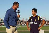 Gautam Gambhir captain of the Kolkata Knight Riders is interviewed before the toss during match 15 of the Pepsi Indian Premier League 2014 Season between The Kings XI Punjab and the Kolkata Knight Riders held at the Sheikh Zayed Stadium, Abu Dhabi, United Arab Emirates on the 26th April 2014<br /> <br /> Photo by Ron Gaunt / IPL / SPORTZPICS
